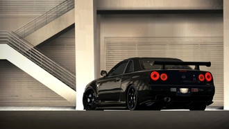 nissan skyline, black, r35, jdm, r34, nissan, japan