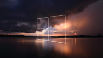 windows 10, transparent, logo, over, the, sea