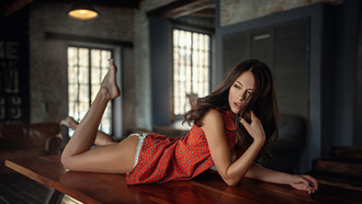 бои women, table, ass, brunette, white panties, depth of field, painted nails, lying on front на рабочий стол