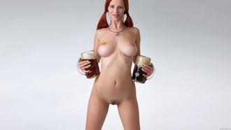 beer, tits, legs, red, hair, smile, ariel