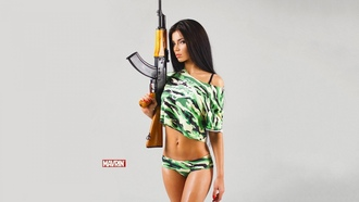 tanned, kamo, legs, brunette, ak47, lips, look, pretty, military