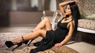 brunette, beautifull, black, dress, high, hells, legs, look, eye