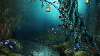 бои roses, night, лес, forest, antasy, red roses, nature, river, lamps, flowers, цветы для рабочего стола