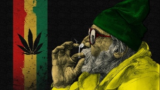 smoke, weeds, old, man