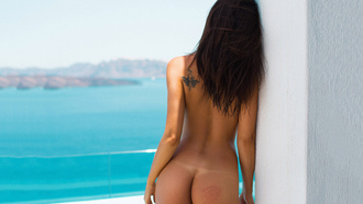 tanned, ass, tatoo, brunette, perfect, look, beautifull