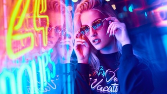 women, blonde, portrait, neon, sunglasses, reflection