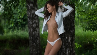 Mihail Gerasimov, women, tanned, white panties, trees, ribs, boobs, belly