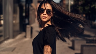 women, Martin Kuhn, Marlen Valderrama Alvarez, sunglasses, tattoo, depth of field, wo