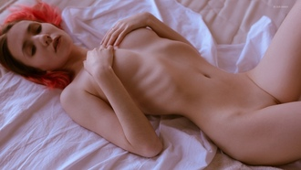 Alice Fox, dyed hair, women, nude, ribs, in bed, skinny, boobs, lying on back, belly, hands on boobs, shaved pubic hair