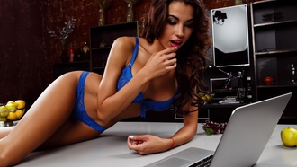women, blue lingerie, belly, hips, laptop, kitchen, open mouth, tanned