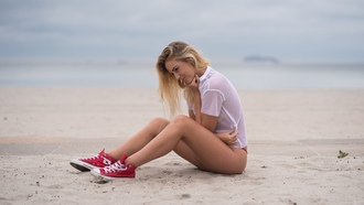 women, sitting, beach, brunette, sand, blonde, sea, depth of field, smiling, women outdoors, red panties, sneakers, Converse