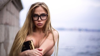 women, portrait, blonde, women with glasses, boobs, depth of field, women outdoors, long hair, tanned, red nails, blue eyes, tattoo, books, strategic covering, glasses, topless