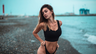 women, Nadezhda Rodina, Grigoriy Lifin, sea, tanned, blonde, belly, depth of field, women outdoors, black panties, hips