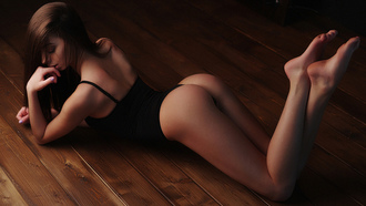 women, tanned, ass, black lingerie, light bulb, lying on front, closed eyes, on the floor, wooden surface