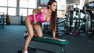 women, tanned, leotard, gyms, sneakers, dumbbells, sportswear, depth of field
