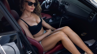women, sitting, tanned, sunglasses, high heels, women with cars, jean shorts