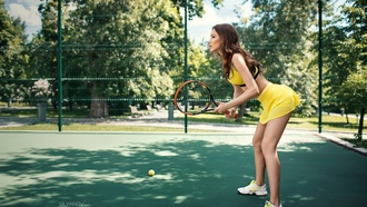 women, brunette, women outdoors, sneakers, miniskirt, sports bra, legs, side view, tennis courts, sunlight