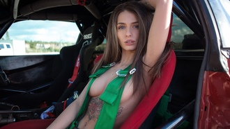 women, Alain Elizarova, sitting, car, belly, boobs, portrait, armpits, women with cars, blue eyes, strategic covering, ass