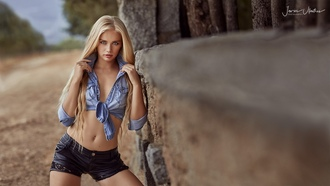 women, blondef, ace, women outdoors, no bra, long hair, depth of field, short shorts, blue eyes, tanned, portrait, belly, Yulia Vasileva, Javier Ullastres