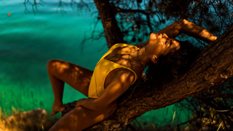 women, Miro Hofmann, tanned, closed eyes, one-piece swimsuit, trees, depth of field