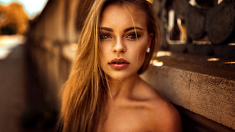 women, Miro Hofmann, depth of field, portrait, tanned, blonde