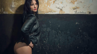 women, ass, black panties, wall, leather jackets, tanned, portrait