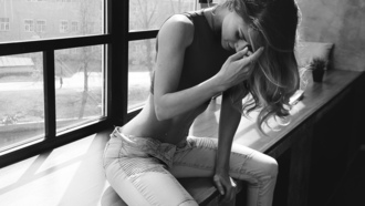 women, monochrome, pants, jeans, window sill, piercing, nose rings, sitting, belly
