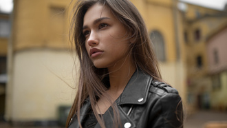 Anastasia Lis, women, portrait, leather jackets, depth of field