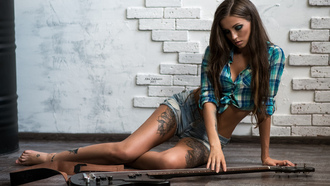 women, guitar, tanned, shirtj, ean shorts, on the floor, tattoo