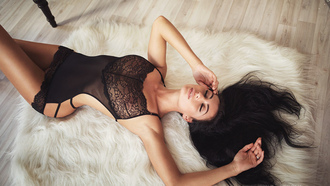 women, Sergey Volkov, top view, see-through clothing, tanned, fur, armpits, black lingerie, on the floor, closed eyes, lying on back