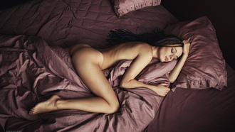 women, Sergey Volkov, nude, tanned, ass, in bed, closed eyes, top view