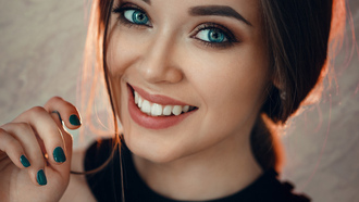 women, smiling, face, blue eyes, Evgeny Freyer, portrait