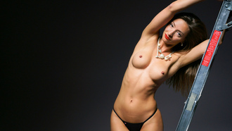 women, topless, tanned, belly, boobs, armpits, nipples, red lipstick, ladders, simple background
