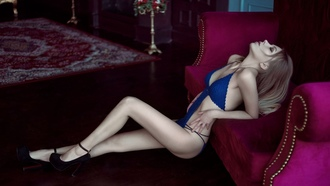 women, closed eyes, blue lingerie, couch, pale, skinny, high heels, blonde