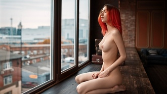 women, redhead, nude, boobs, nipples, kneeling, dyed hair, closed eyes, feet, pale, natural boobs, areolae