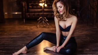 women, brunette, black bras, leather pants, on the floor, eyeshadow, closed eyes, cleavage, bare shoulders, feet