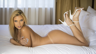 Neesy Rizzo, women, nude, ass, tanned, high heels, Tanlines, lying on front, in bed