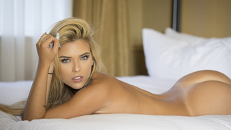 women, Neesy Rizzo, tanned, nude, ass, Tanlines, lying on front, blonde