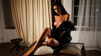 women, Artem Savinkov, tanned, sitting, boobs, nipples, fur, black nails, portrait