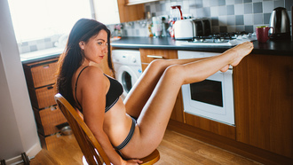women, chair, tanned, sitting, kitchen, looking away, lingerie