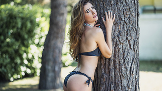 women, ass, black bikinis, tanned, trees, looking at viewer, depth of field