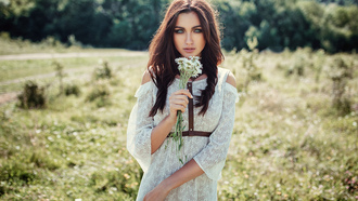 women, dress, Evgeny Freyer, portrait, women outdoors