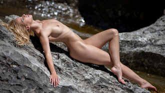 women, nude, blonde, tanned, depth of field, rocks, nipples, boobs, closed eyes, women outdoors