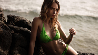 women, blonde, belly, rocks, sea, green bikini, tanned, women outdoors, wet hair