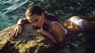 Polina Bokova, women, white bikini, Nikolas Verano, sea, wet body, ass, wet hair, women outdoors, tanned, closed eyes, water drops