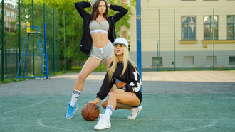 women, sportswear, sweater, squatting, ball, blonde, belly, baseball caps, sneakers, shorts, women outdoors, white stockings, tanned, brunette