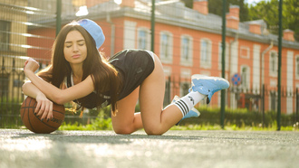women, tanned, ass, closed eyes, ball, white stockings, sportswear, women outdoors, bent over, sneakers