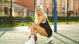 women, blonde, sneakers, baseball caps, squatting, tanned, women outdoors, smiling, sportswear, white stockings, ball