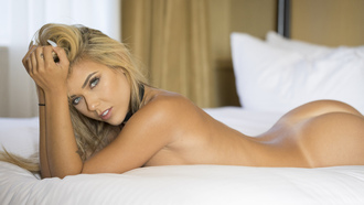 women, Neesy Rizzo, blonde, ass, tanned, in bed, lying on front, Tanlines