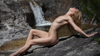 women, nude, waterfall, closed eyes, belly, boobs, nipples, tanned, women outdoors, sitting, arched back